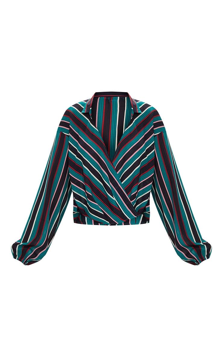 Teal Stripe Collared Wrap Shirt 3