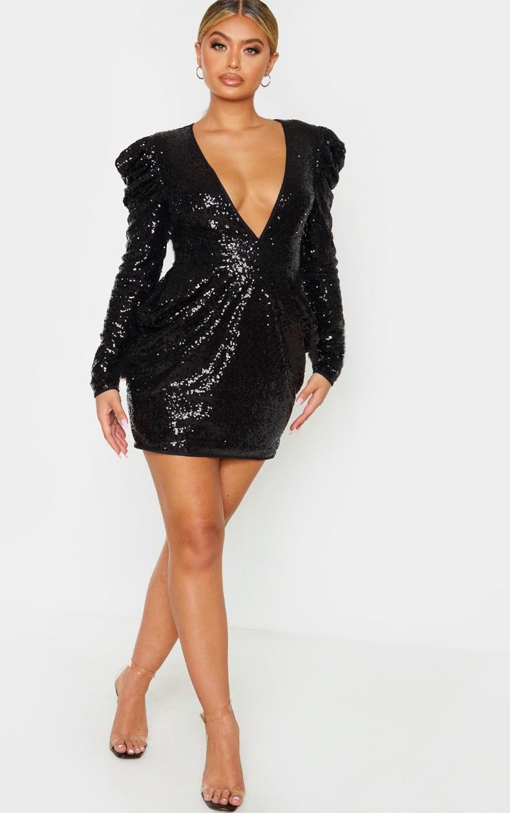 Black Sequin Puff Shoulder Deep Plunge Bodycon Dress 4
