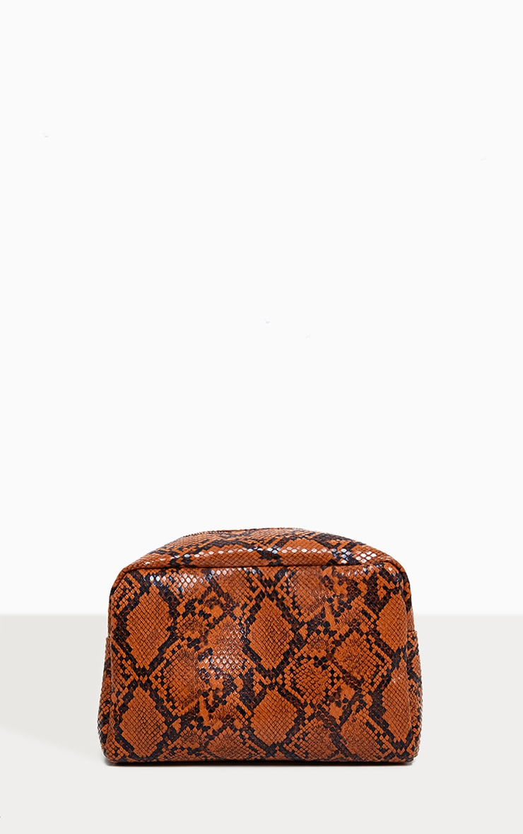 PRETTYLITTLETHING Snakeskin Make Up Bag 1