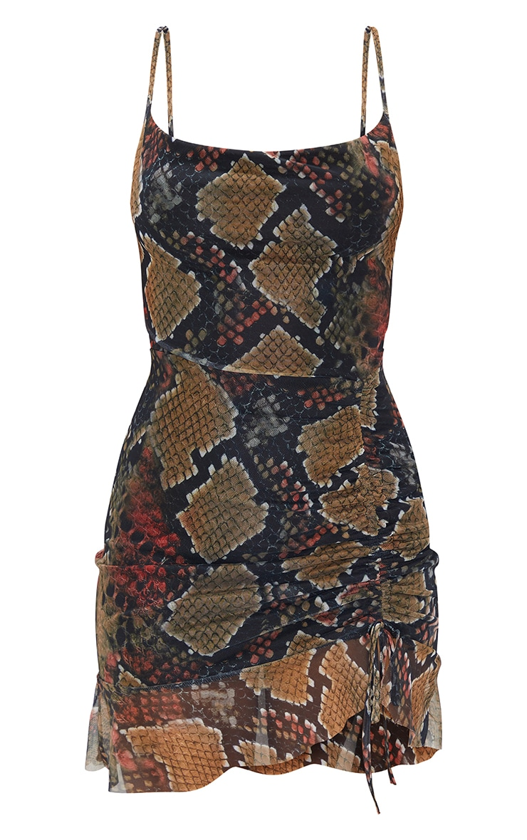 Multi Mesh Snake Print Ruched Bodycon Dress 5