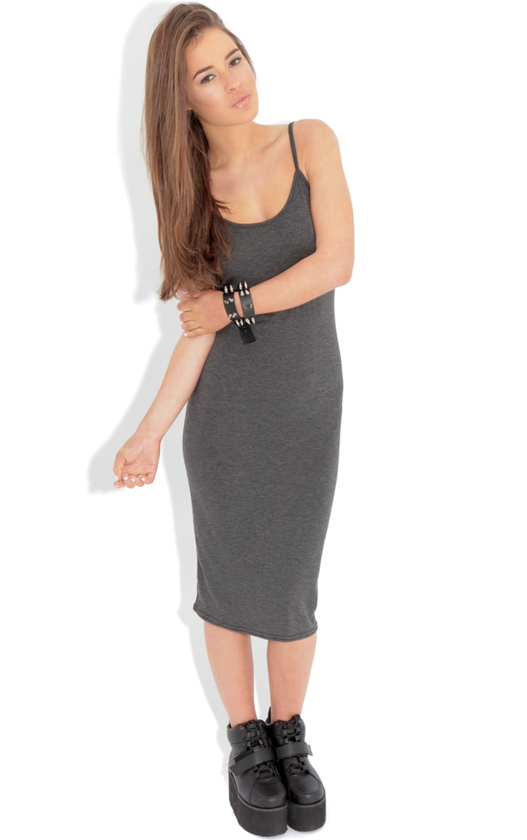 Jacinda Charcoal Jersey Vest Dress 1