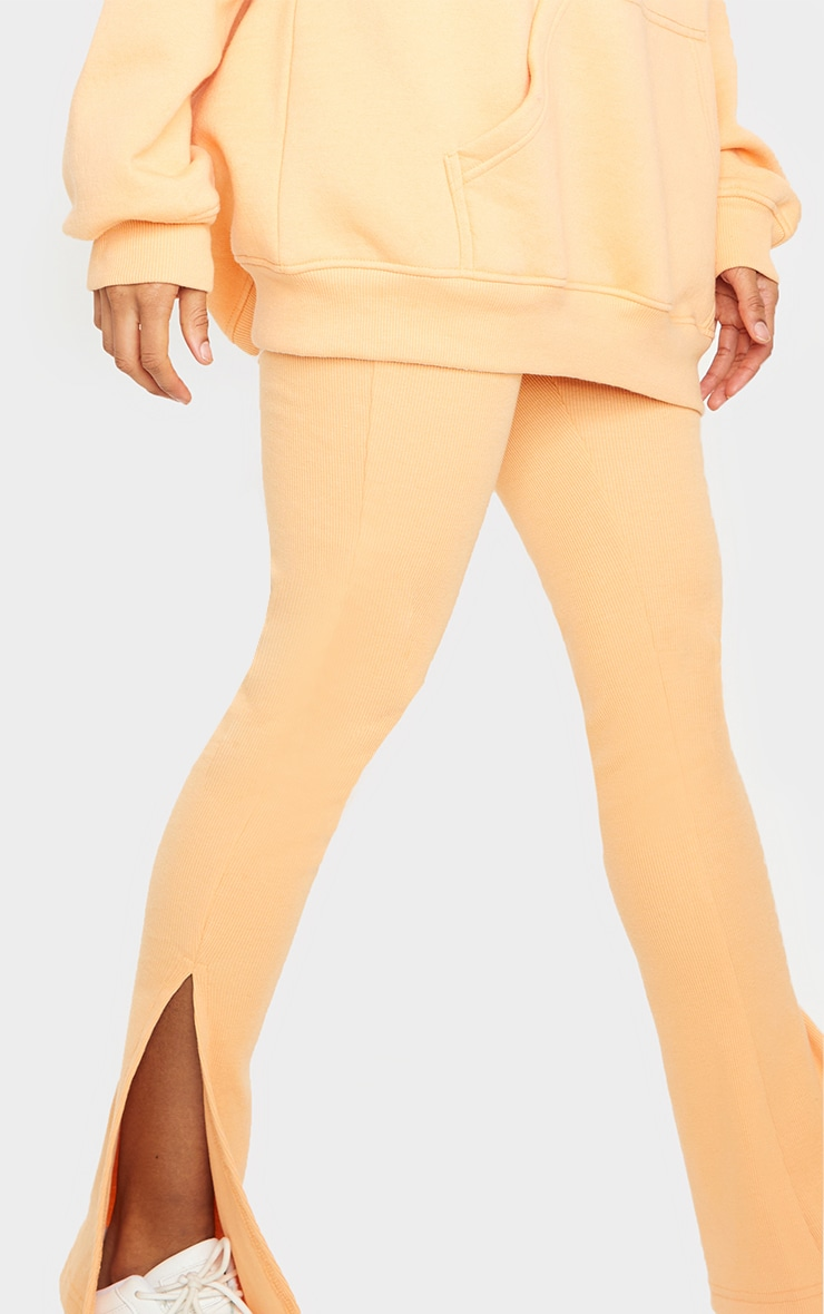 Peach High Waisted Textured Rib Split Hem Pants 4