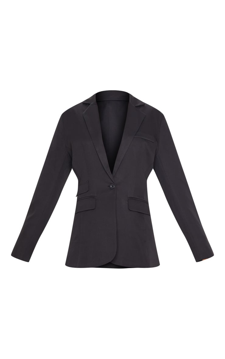 Black Woven Pocket Detail Dad Blazer 3