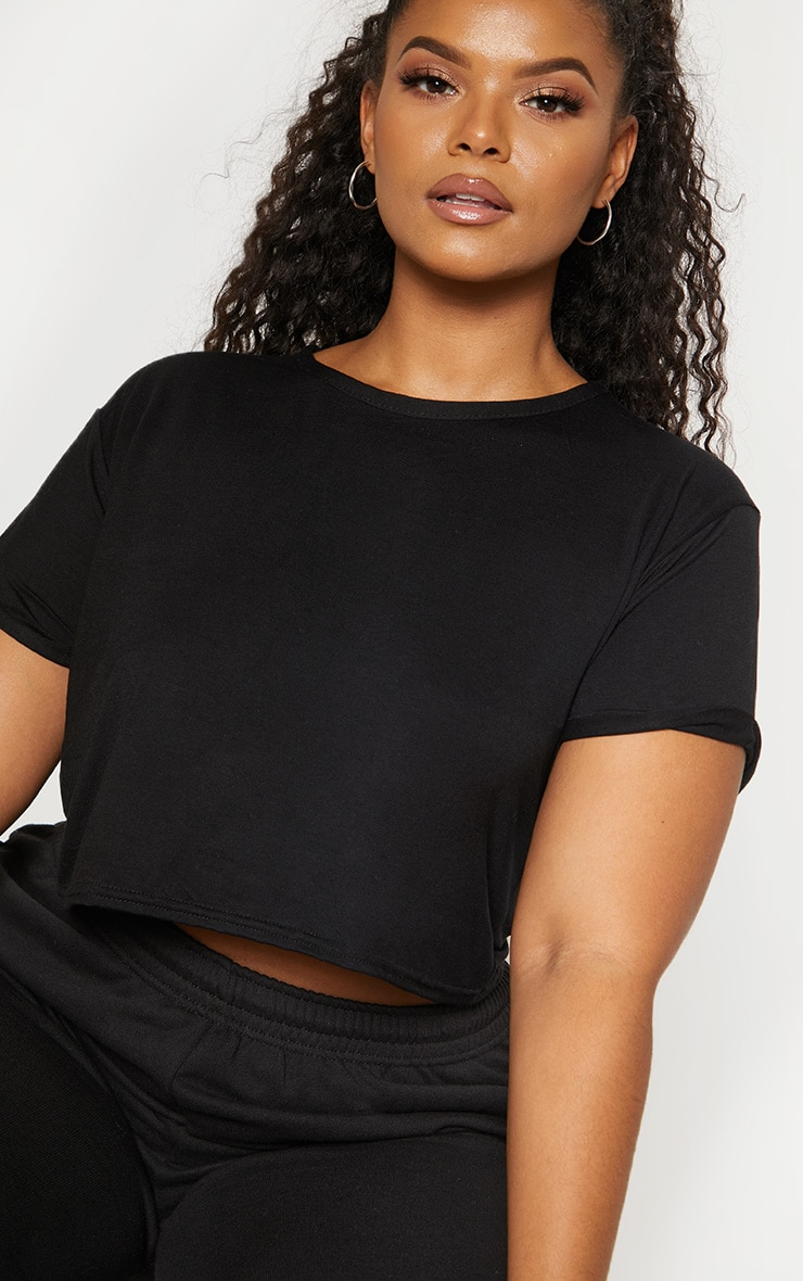 Plus Black Basic Roll Sleeve Crop T Shirt 5
