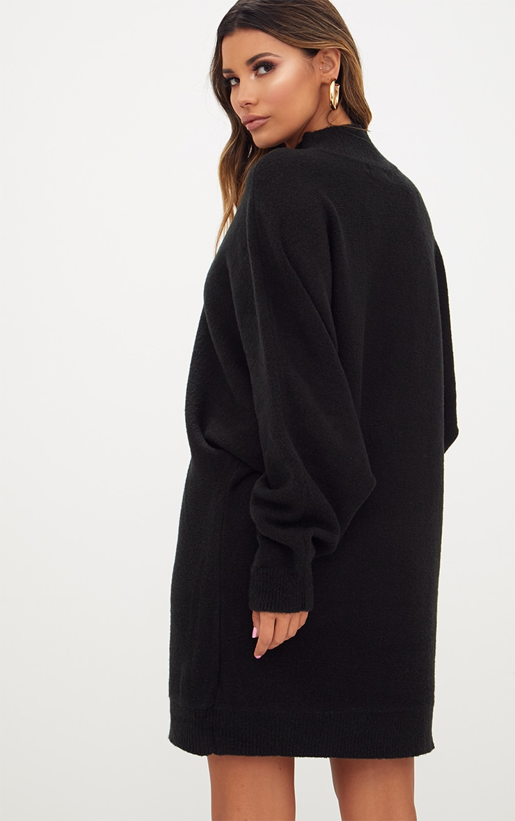 Black Oversized Jumper Dress 2