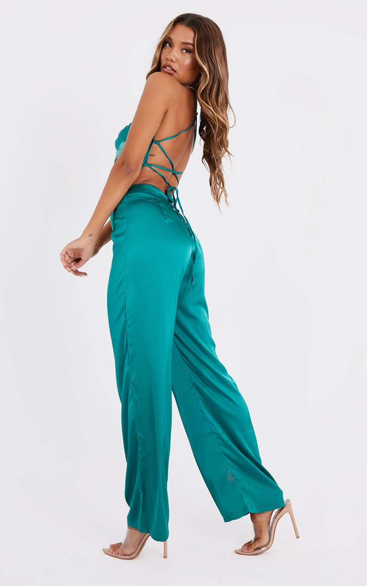Emerald Green Ruched Centre Strappy Satin Jumpsuit 2
