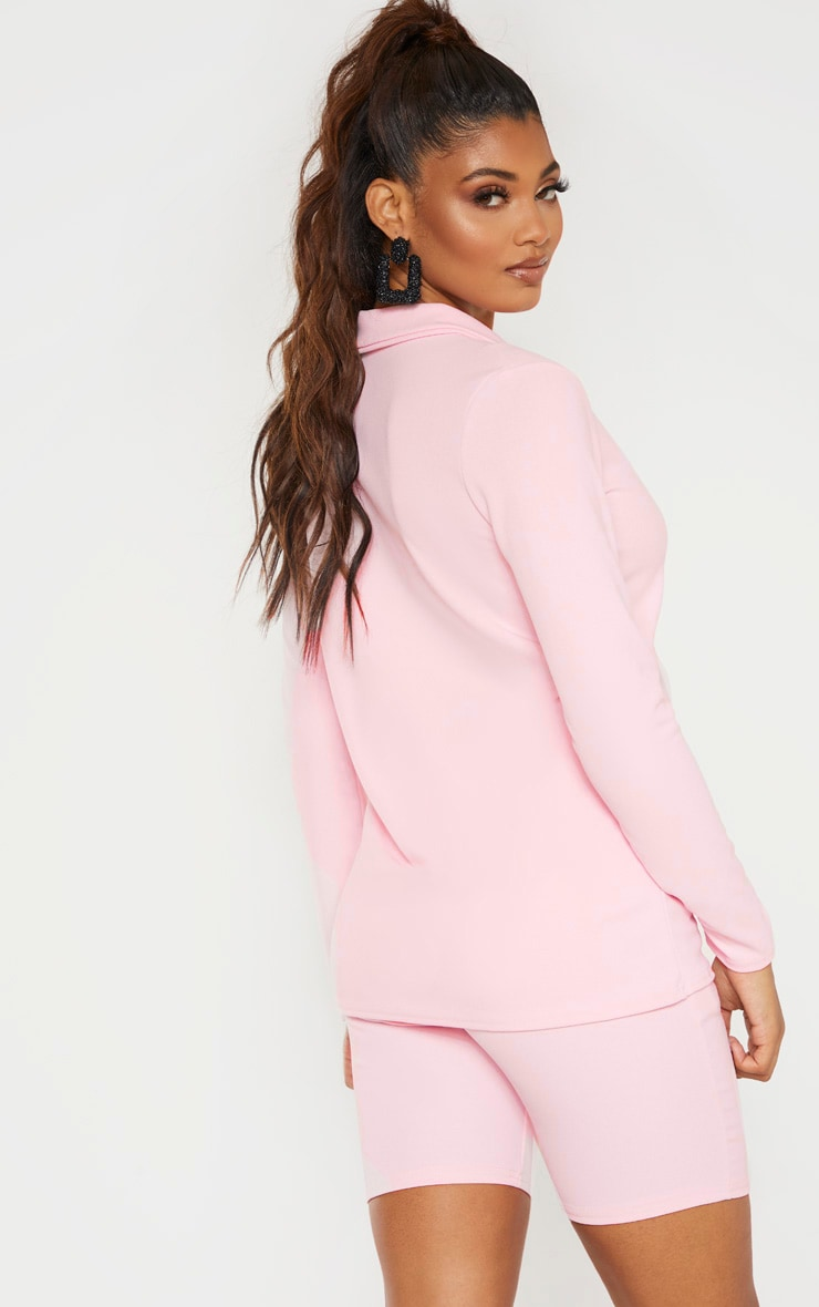 Tall Baby Pink Double Breasted Button Suit Jacket 2