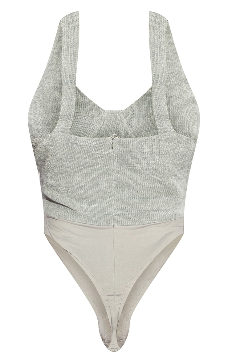 Tall Grey Chenille Cup Detail Bodysuit 6