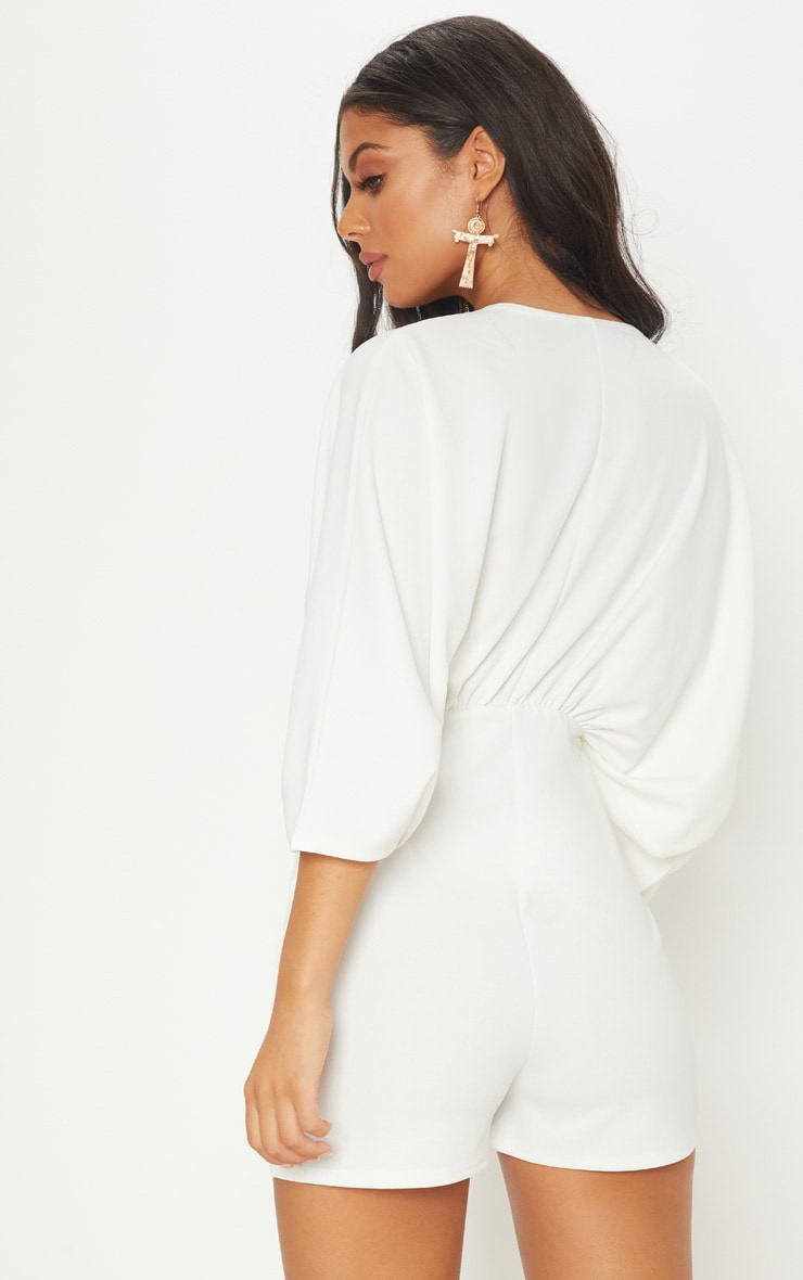 Ivory Crepe Batwing Cut Out Playsuit 2