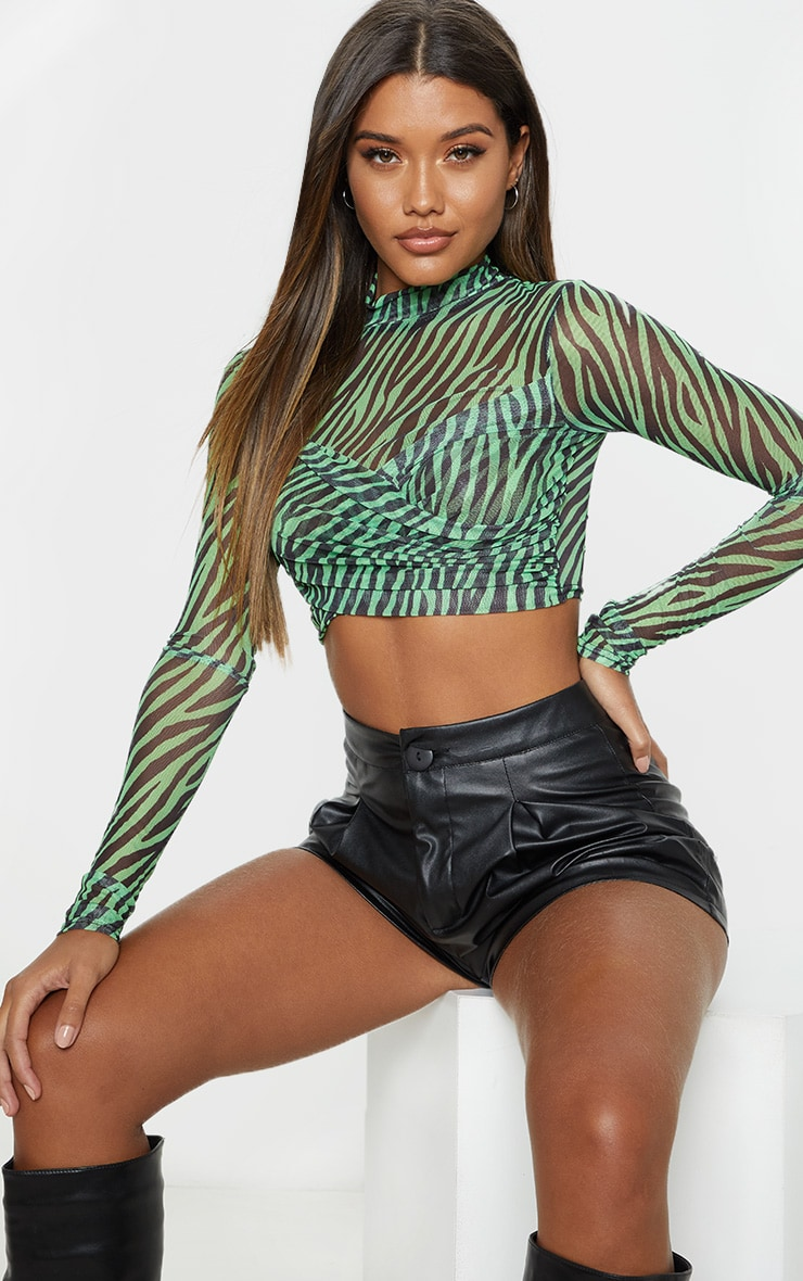 Neon Lime Zebra Printed Mesh Wrap Front High Neck Top 4