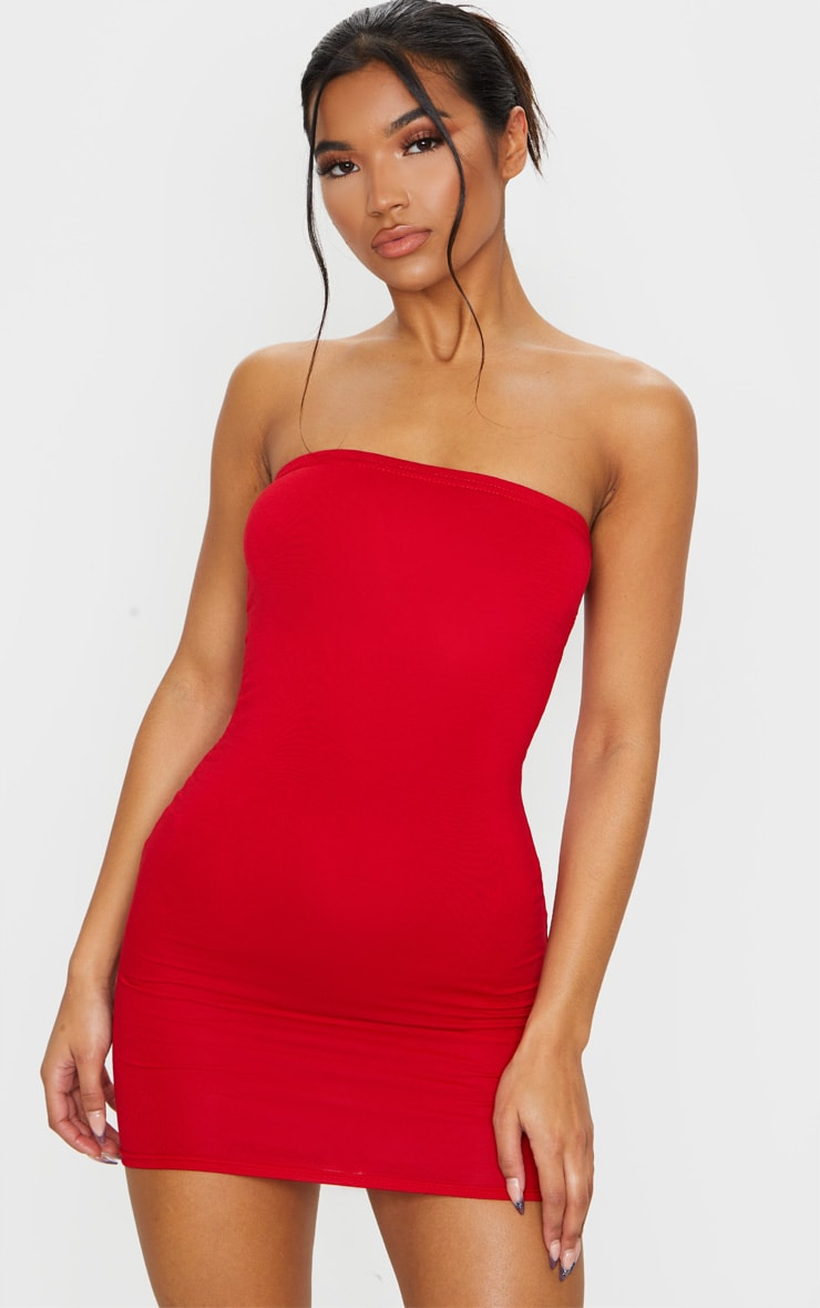 Basic Red Jersey Bandeau Bodycon Dress 4