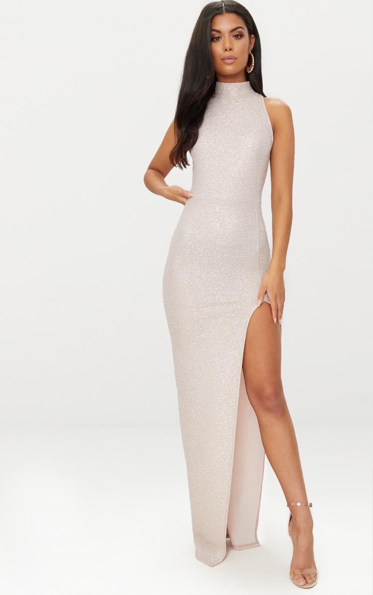 Nude High Neck Split Detail Maxi Dress 1