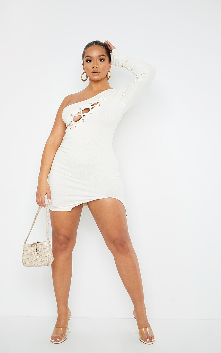 Shape Cream Thick Rib Lace Up Split Detail Bodycon Dress 3