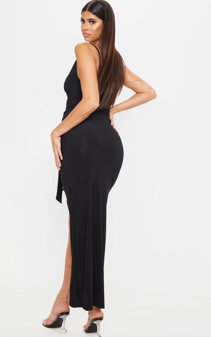 Black Cowl Neck Tie Waist Maxi Dress 2