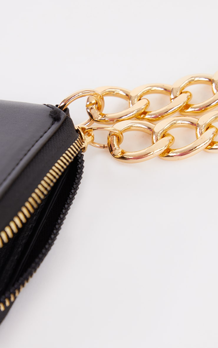 Black PU Gold Chunky Chain Mini Cross Body Bag 4