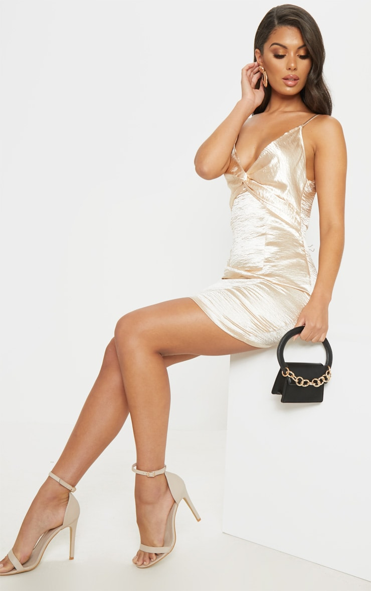 Champagne Satin Strappy Knot Detail Shift Dress 4