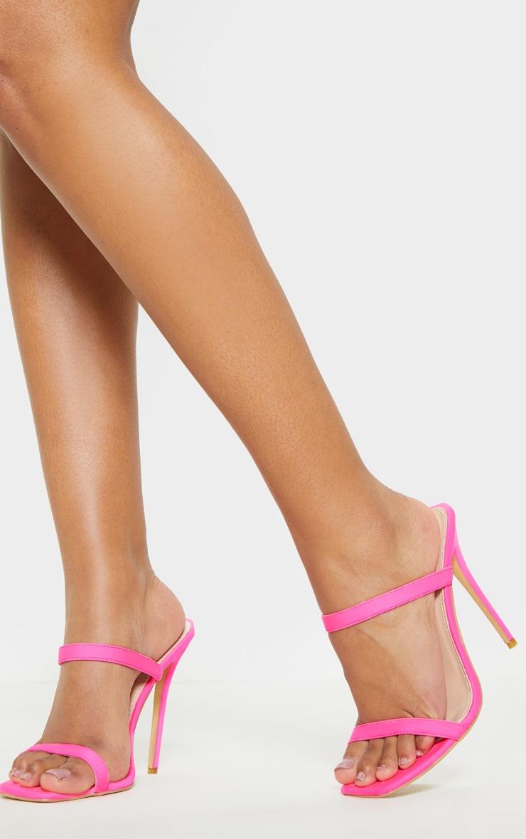 Pink Twin Strap Square Toe Mule Sandal 2