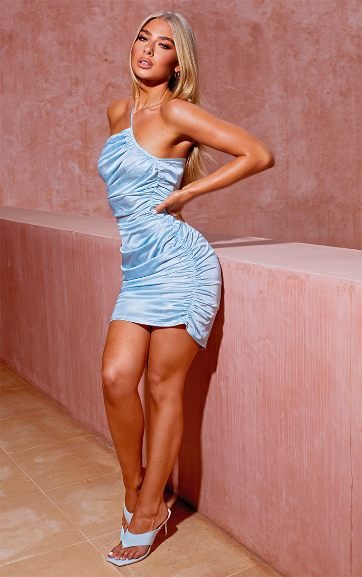 Light Blue Printed Satin Asymetric Bodycon Dress