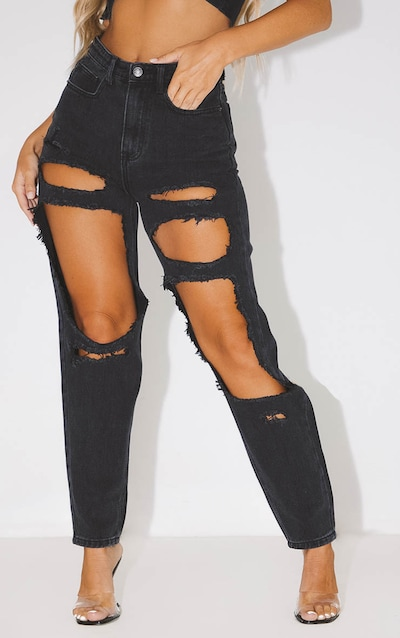 PRETTYLITTLETHING Washed Black Open Thigh Mom Jean