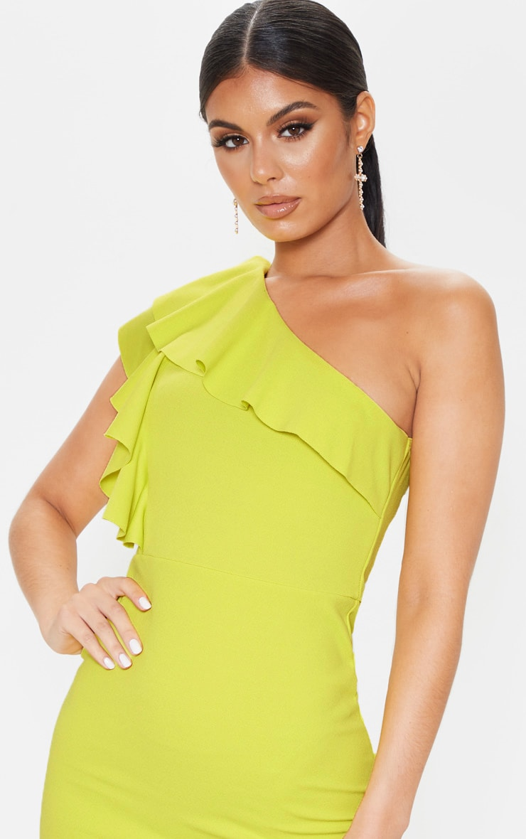Chartreuse One Shoulder Frill Detail Bodycon Dress 5