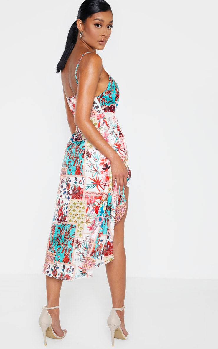 Multi Tile Print Wrap Midi Dress 2