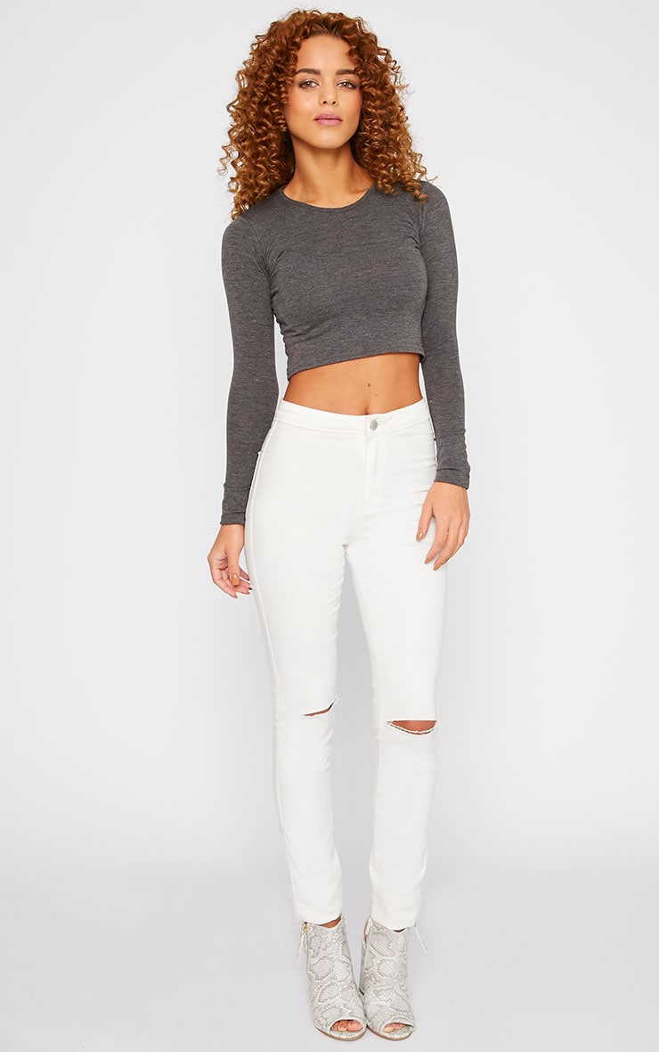 Basic Charcoal Long Sleeved Crop Top 3