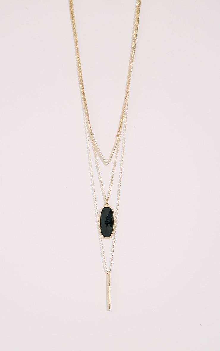 Prima Gold Chevron Stone Long Necklace 2