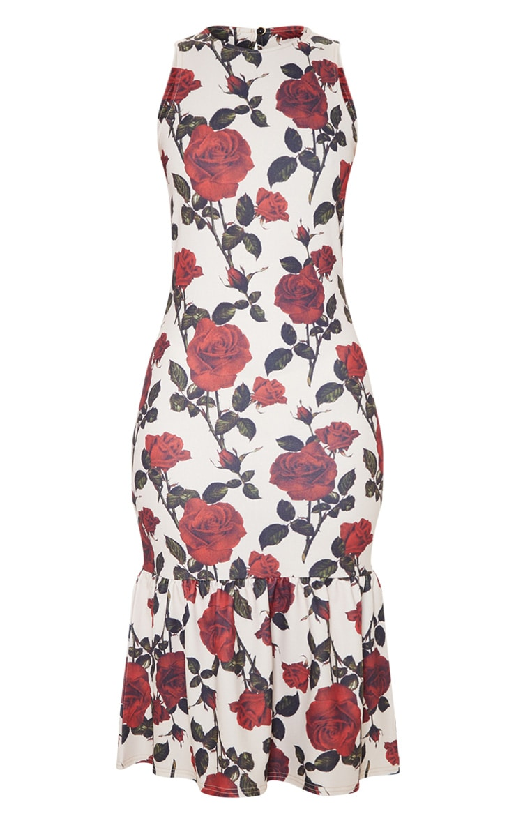 Nude Rose Print Sleeveless Frill Hem Midi Dress 3