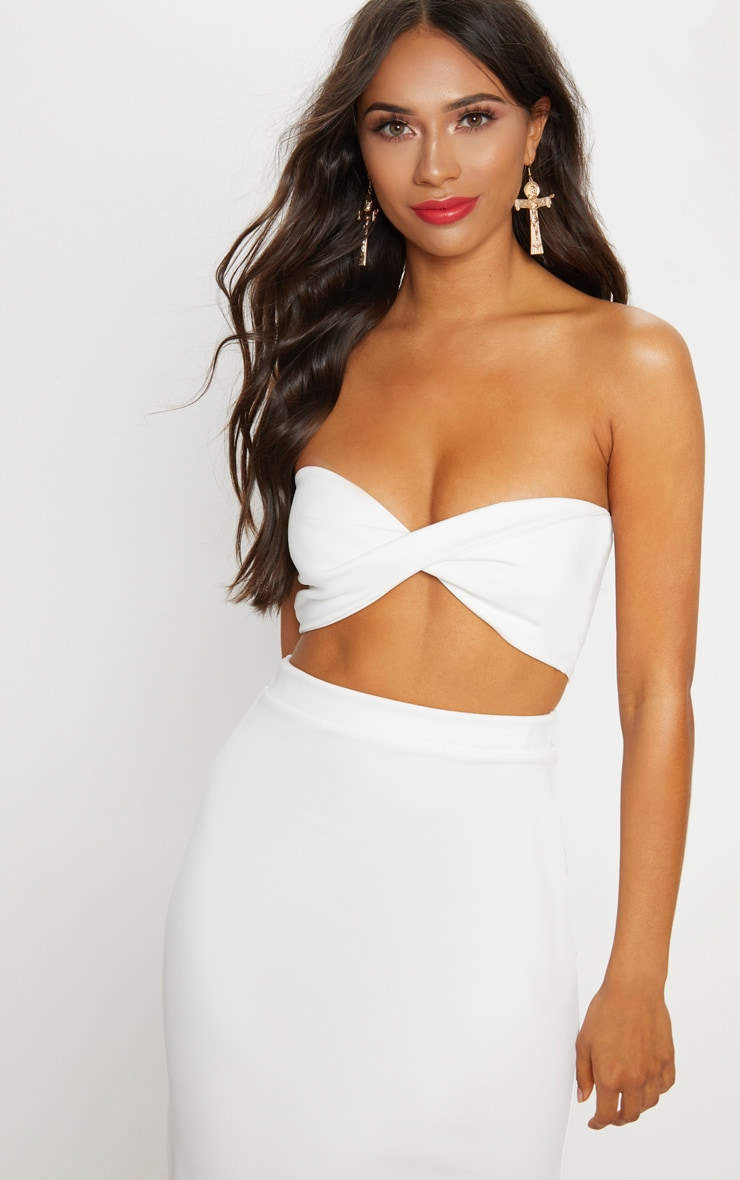 Cream Scuba Twist Front Bandeau Crop Top 1