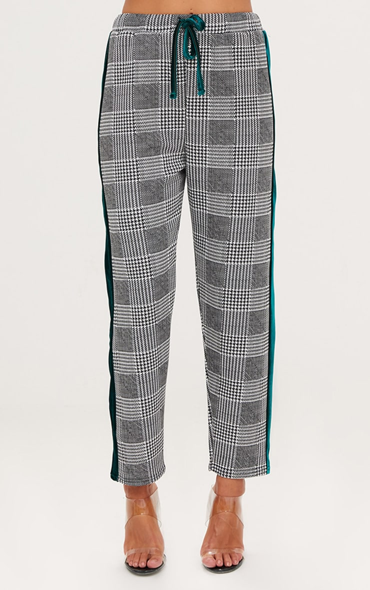 Grey Check Contrast Panel Trousers 2