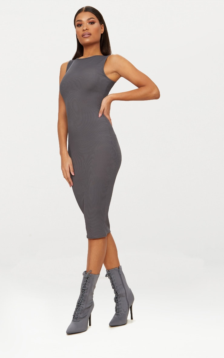 Charcoal Grey Ribbed Neck Midi Dress 4
