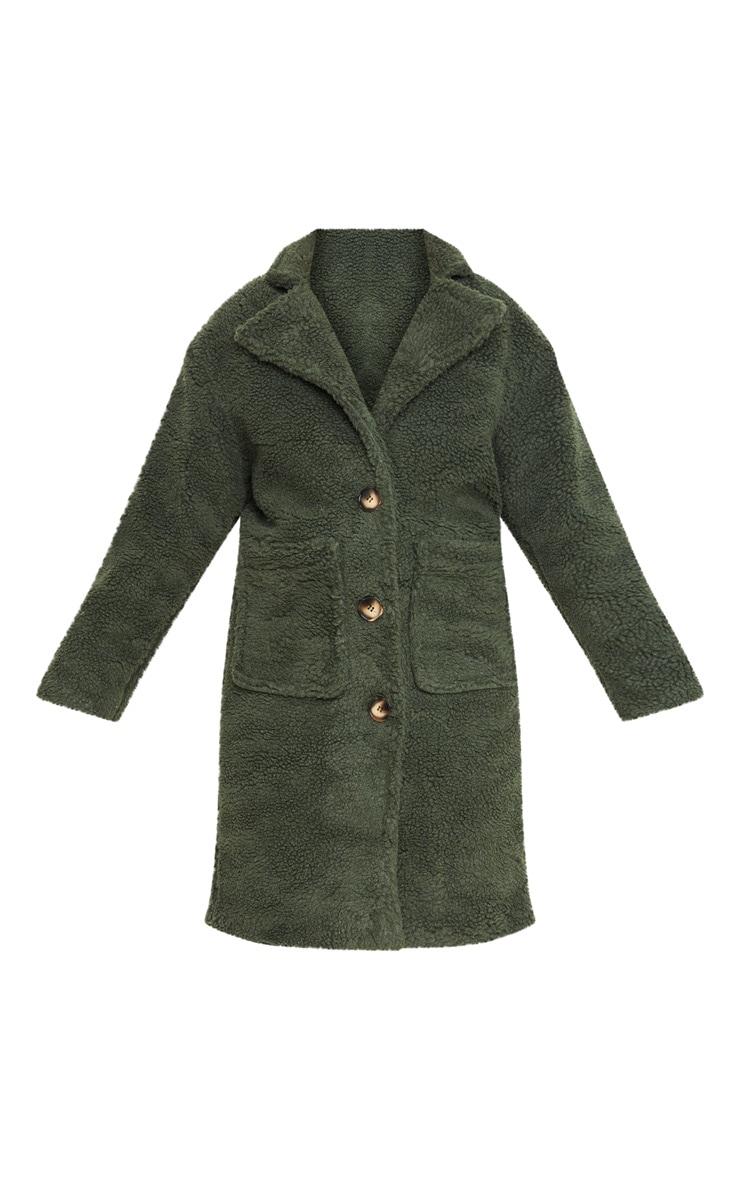 Khaki Borg Longline Coat 3