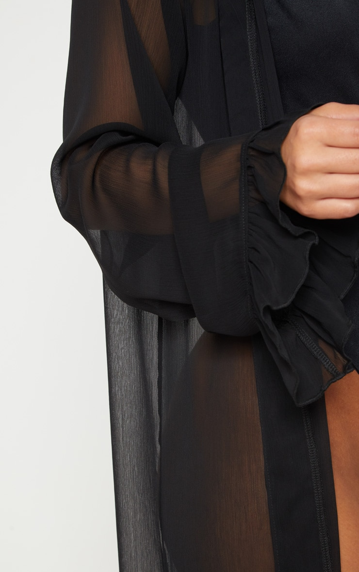 Petite Black Frill Sleeve Kimono 5