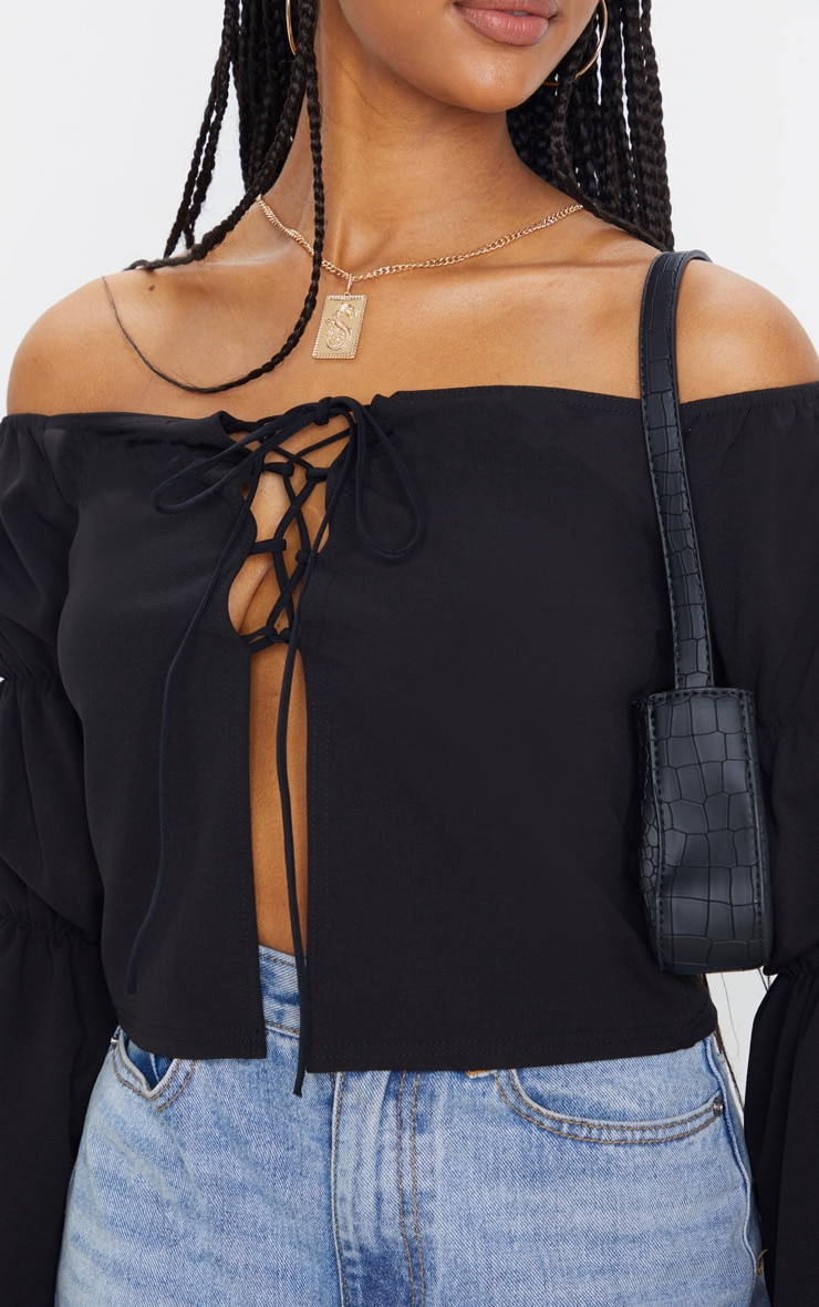 Black Crepe Lace Up Puff Long Sleeve Top 5