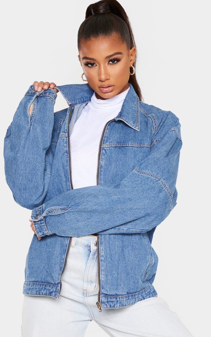 Mid Wash Oversized Trucker Boyfriend Denim Jacket 1