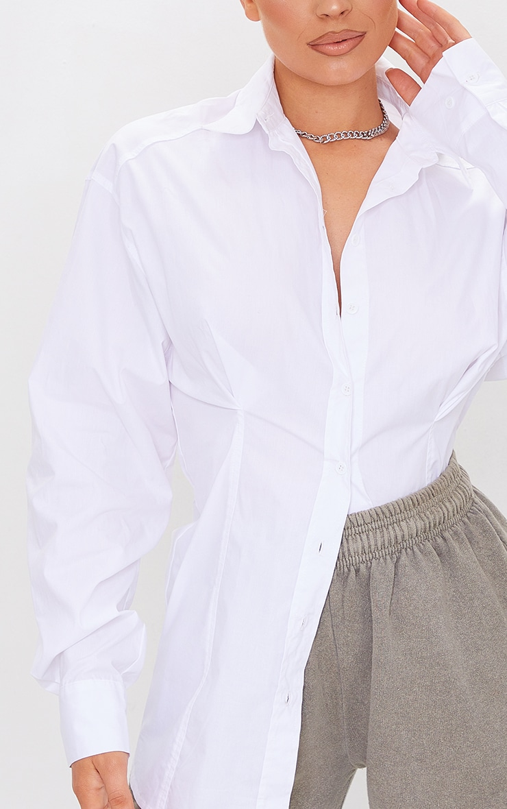 White Poplin Fitted Detail Long Sleeve Shirt 4