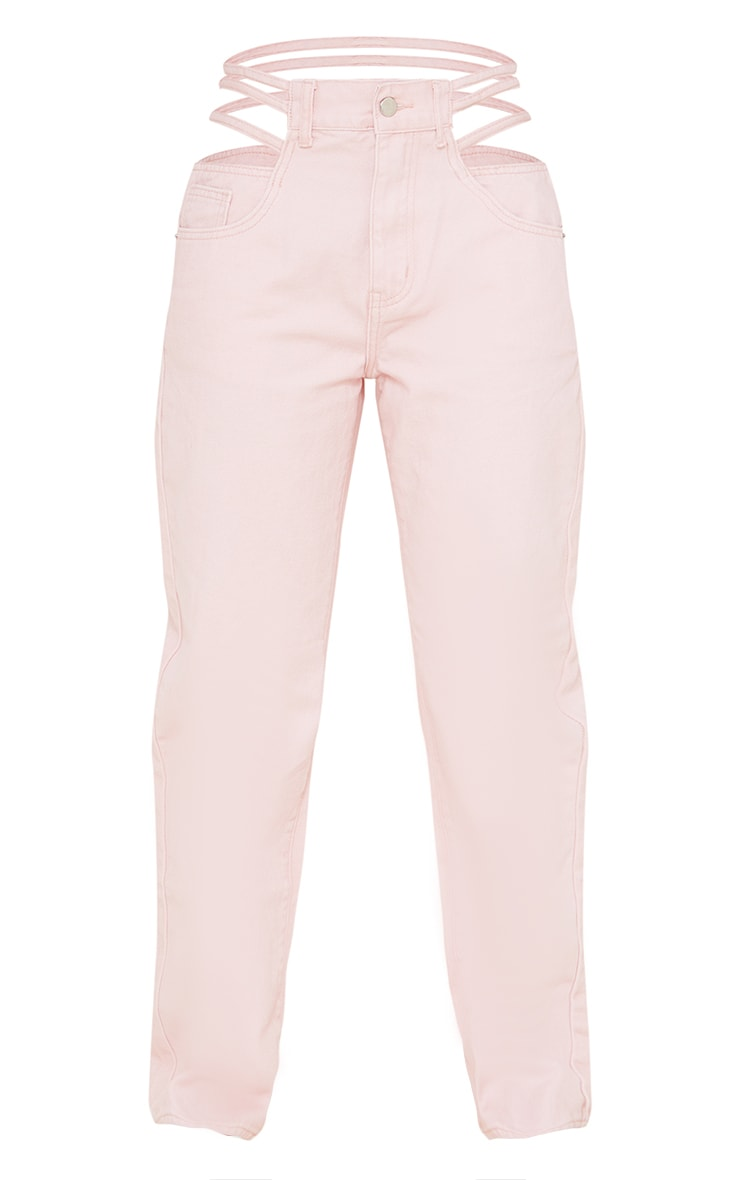 Pale Pink Strappy Cut Out Hip Straight Leg Jeans 5