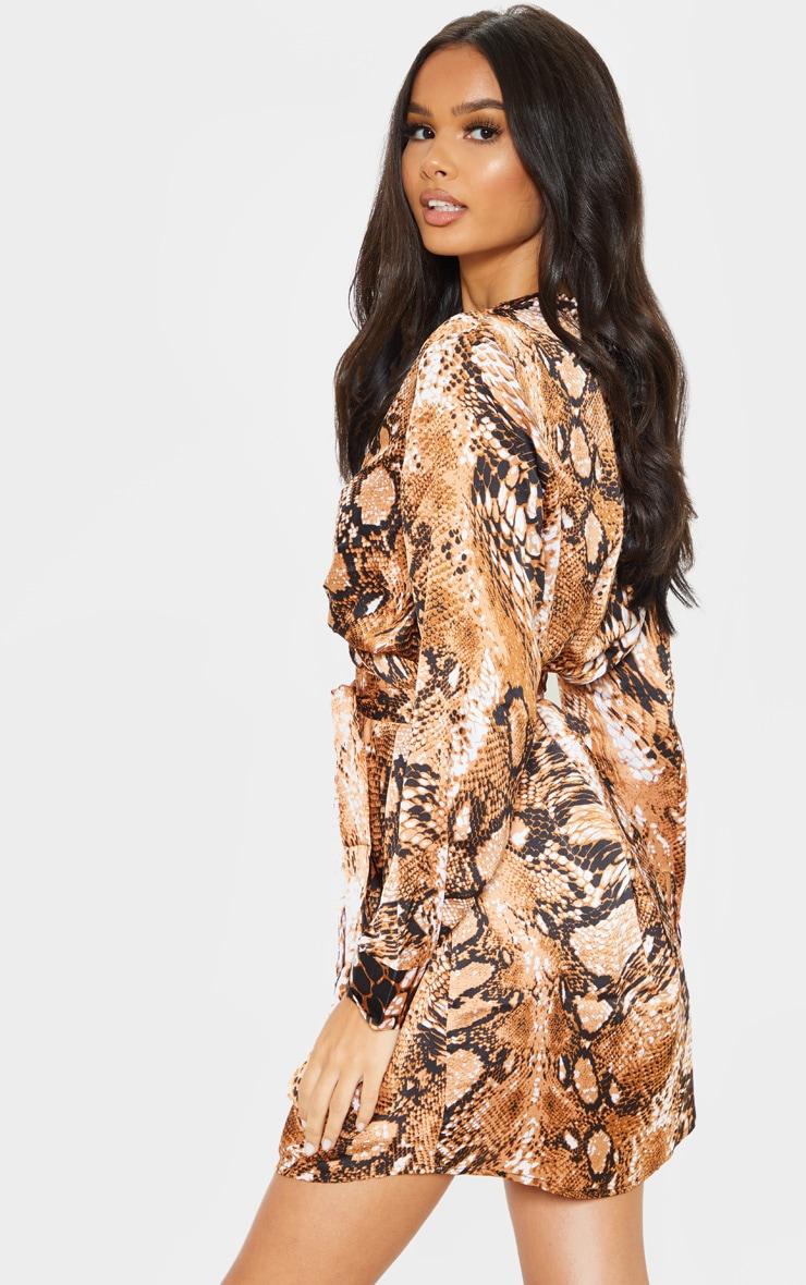 Orange Snake Print Tie Waist Collarless Shirt Dress 2