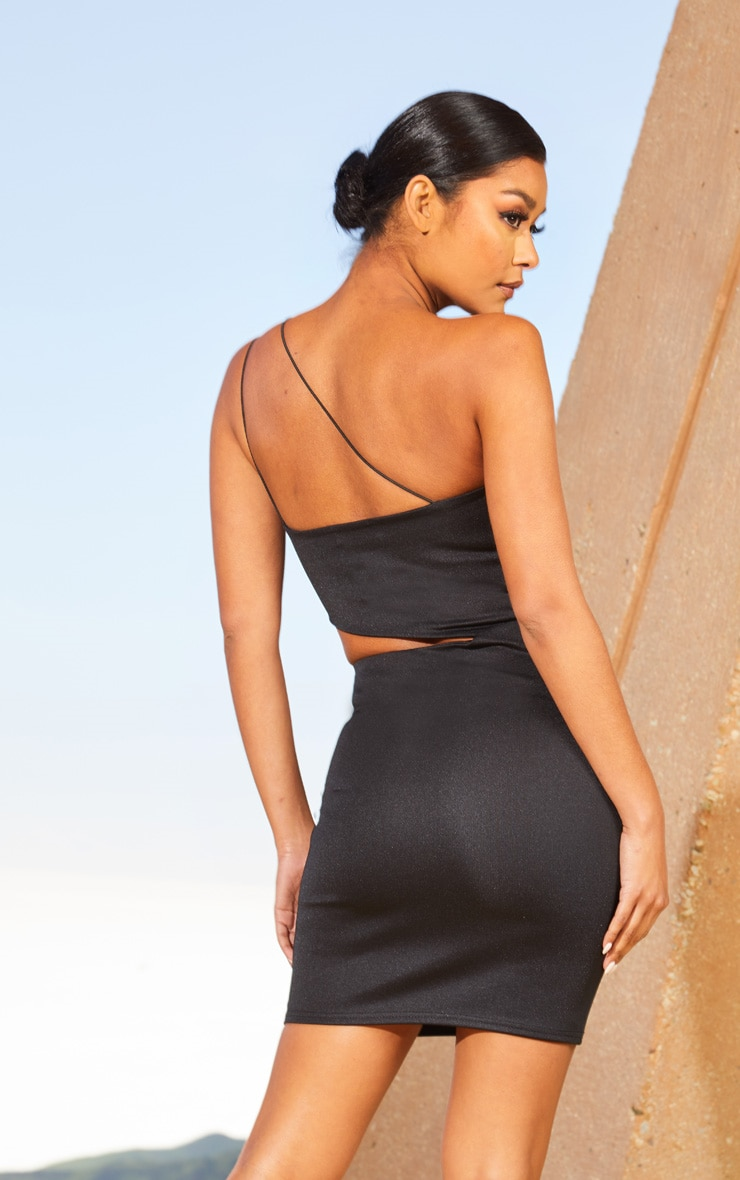Black Second Skin One Shoulder Cut Out Bodycon Dress 2