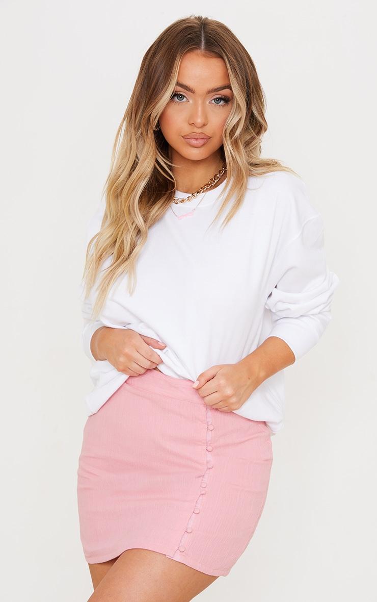 Pink Textured Button Detail Mini Skirt 1