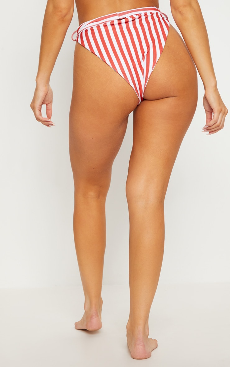 Red Striped High Waist Belted Bikini Bottom 4