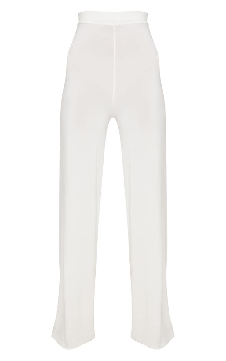 Cream Slinky Wide Leg Pants  3