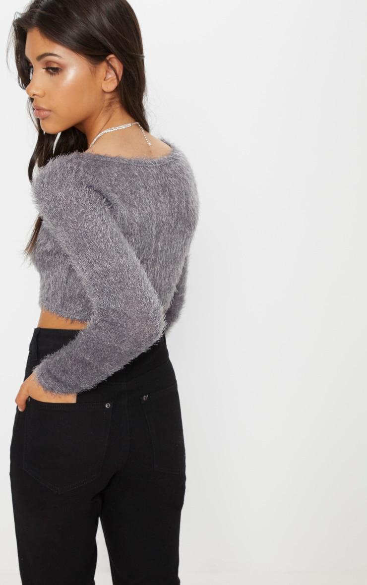 Charcoal Eyelash Fluffy Knit Cropped Cardigan 2