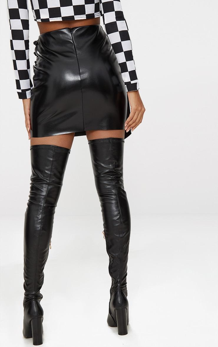 Black Faux Leather Wrap Buckle Mini Skirt 4