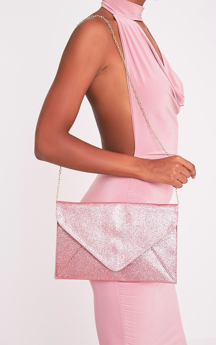 Paige Pink Glitter Clutch Bag 1