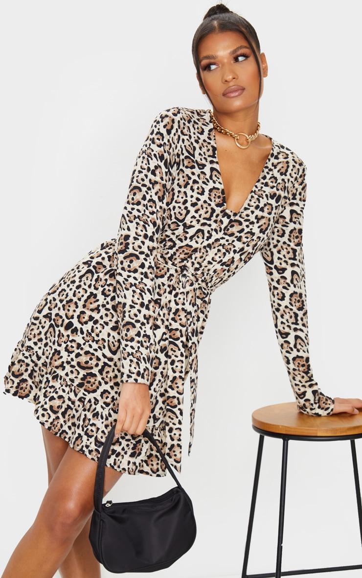 Brown Leopard Print Button Through Frill Hem Tie Waist Shift Dress 3