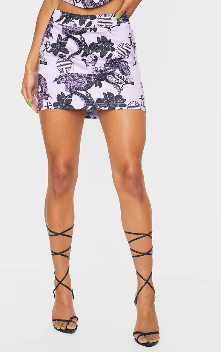Purple Dragon Print Satin Mini Skirt 2