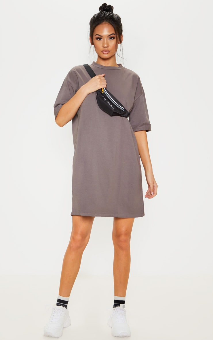Charcoal Oversized Boyfriend T Shirt Dress 4