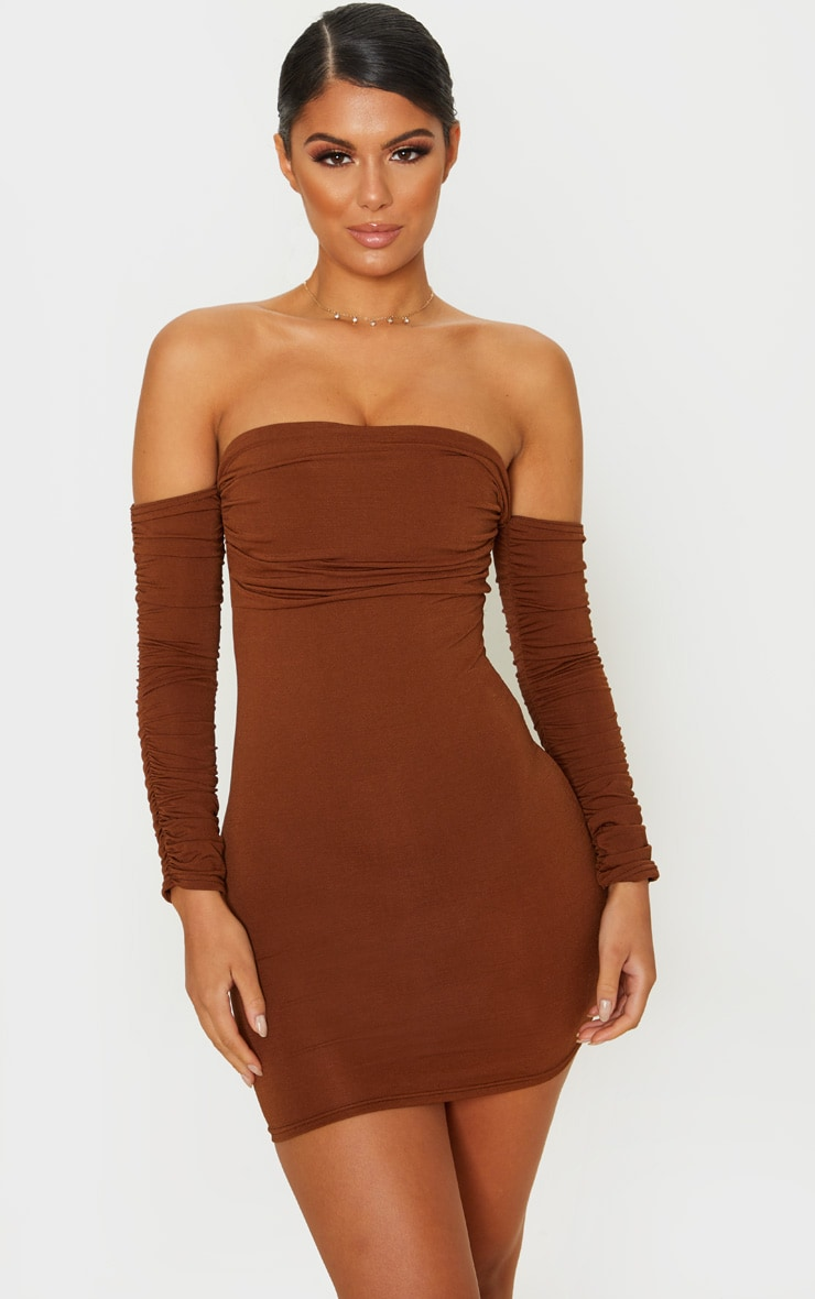 Chocolate Brown Slinky Ruched Bodice Bardot Sleeve Bodycon Dress 4