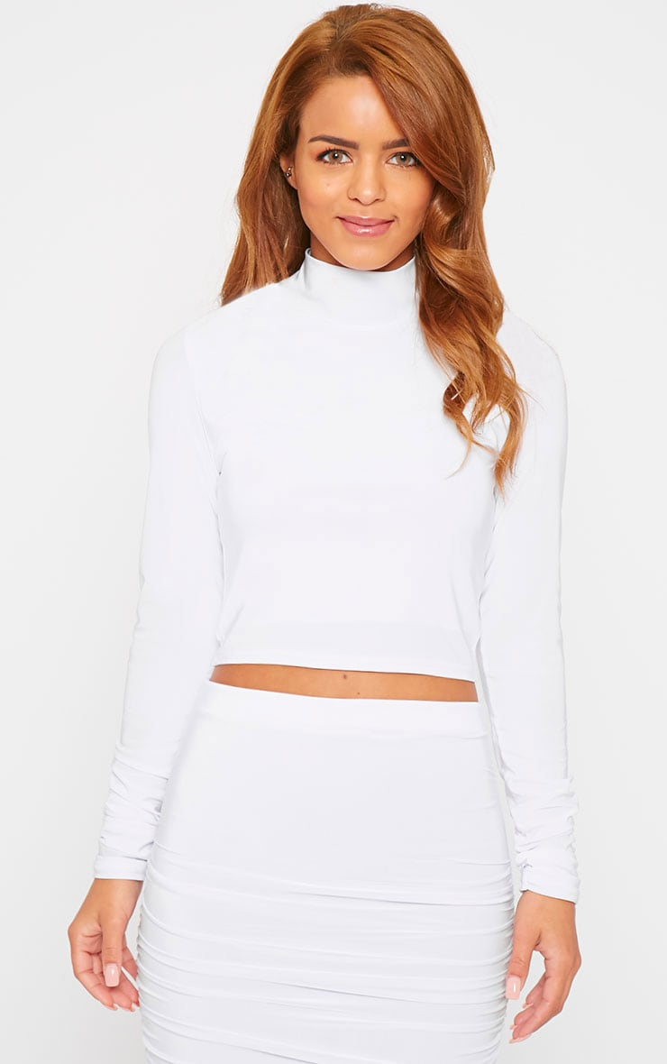 Saylor White Turtle Neck Crop Top 1